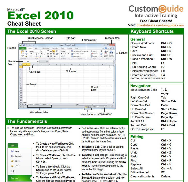 Excel formula cheat Sheets