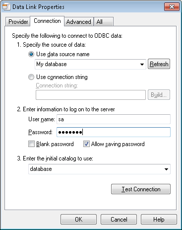 Select Microsoft OLE DB Provider for ODBC drivers, then press Next >> Then you will be able to select your System DSN data source.
