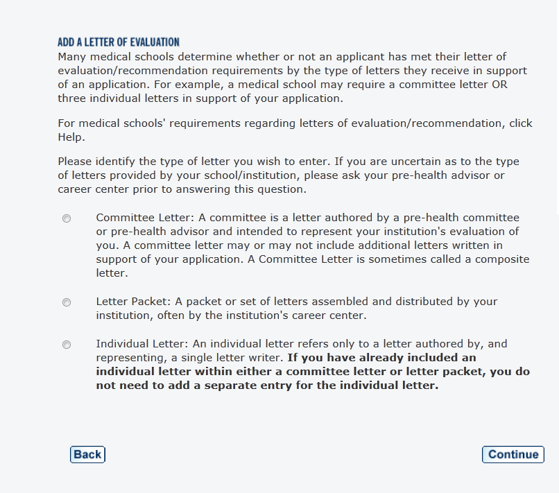 letters of evaluation you can submit your