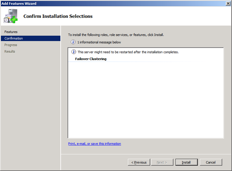 Press the Install button to install the Failover Clustering