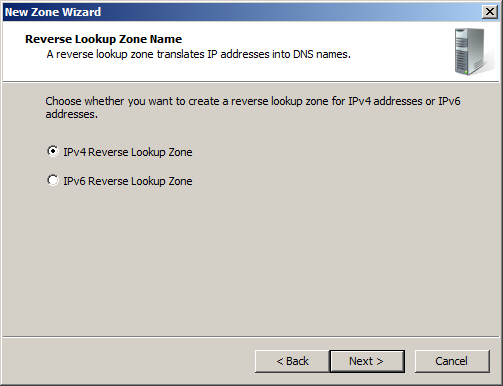 Select IPv4 Reverse Lookup Zone.