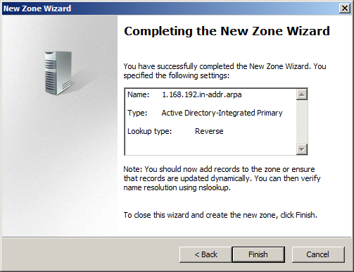 Press the Finish button to close the New Zone Wizard. Right click on the KernSafe.