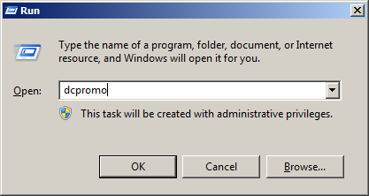 Install Active Directory Select Start->Run and type dcpromo in the Open input box.