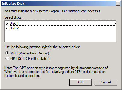 An Initialize Disk dialog is shown. Keep the selection of the tow disks.