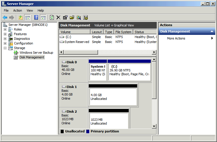 Right click on the Disks and then select New Simple Volume, partition and format the two