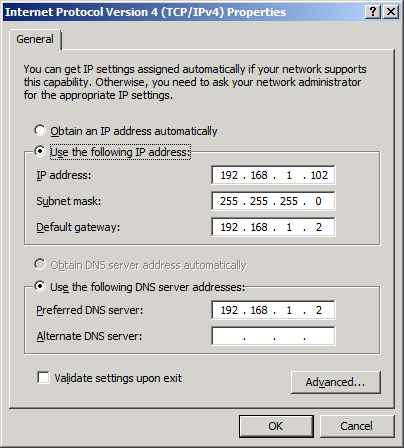 Version 4 (TCP/IPv4) dialog is shown.