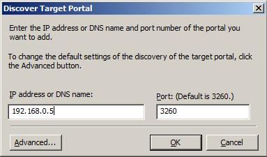 Type IP address or NDS name and Port of the istorage Server in the