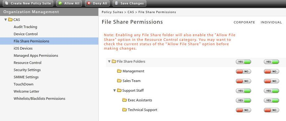 Enable the File Share Permissions Make sure that you have enabled the File Share Permissions in the policy suites. From the GO!