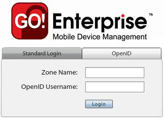 OpenID Login Use your OpenID credentials to log in. 1. At the GO!Enterprise MDM login screen, enter the Zone Name, an easy to remember name GO!