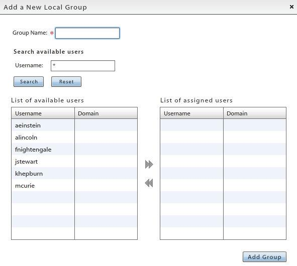 Add a Group and Assign Users 1. To add a group and assign users to it, click the Add Group button. 2. Enter a name for the group. 3. Select user names from the List of available users on the left.