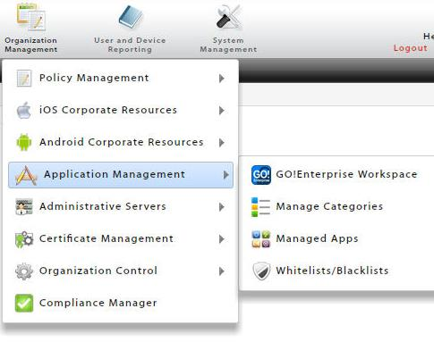 Application Management Application Management is located in the Organization Management view of the dashboard. The GO!