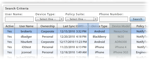 Customizing the User/Device Grid Customize the User/Device Grid by: Rearranging columns Sorting columns Choosing the visible columns Searching for and displaying a distinct category of users Limiting