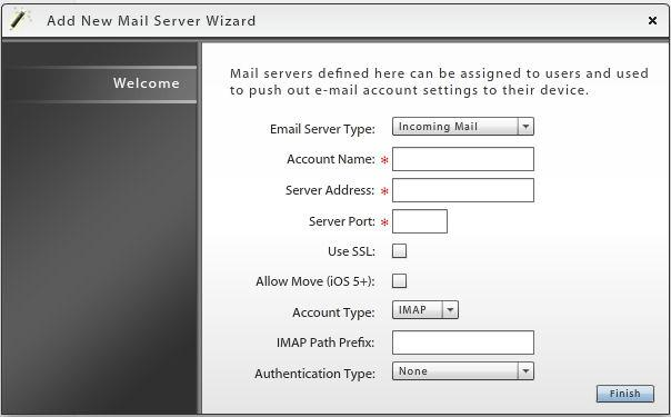 Configure Server Settings The credentials for each server are defined using a wizard: Mail Servers -Email Server Type -Account Name -Server Address -Server Port -Use SSL -Allow Move -Account Type