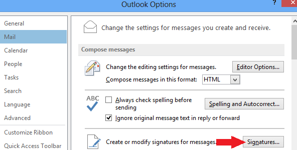 Maintenance Setting up an Email signature In Outlook, in the top left hand corner, click on the File tab.
