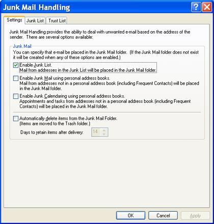 Junk Mail Handling in GroupWise Junk Mail Handling in Outlook 2010 GroupWise had a Junk Mail handling feature accessed via the Tools menu.