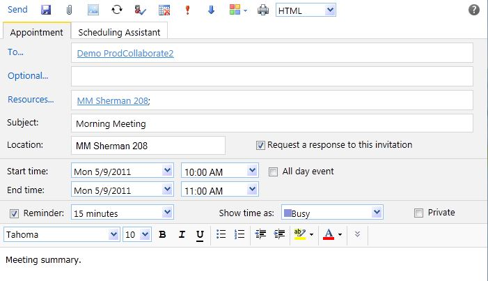 1. Click New on the Calendar Toolbar. 2. Click Meeting Request. The new meeting window will open. 3. Type the address of people you want to invite into the To field.