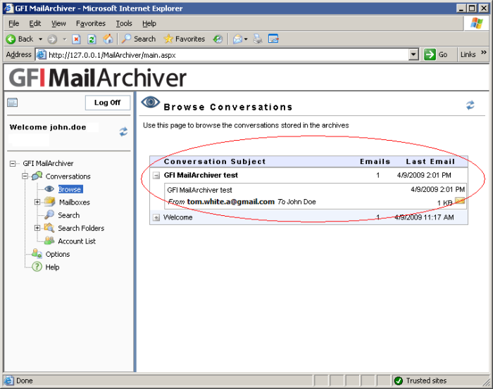 Screenshot 25 - Email archived by GFI MailArchiver 4. Review the conversations to ensure that emails sent are displayed in GFI MailArchiver.