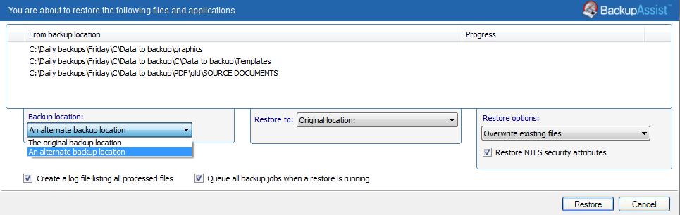 5. Restore Console restore destination selection When you select Restore to, a window will open showing the Backup location, the Restore to destination and the Restore options.
