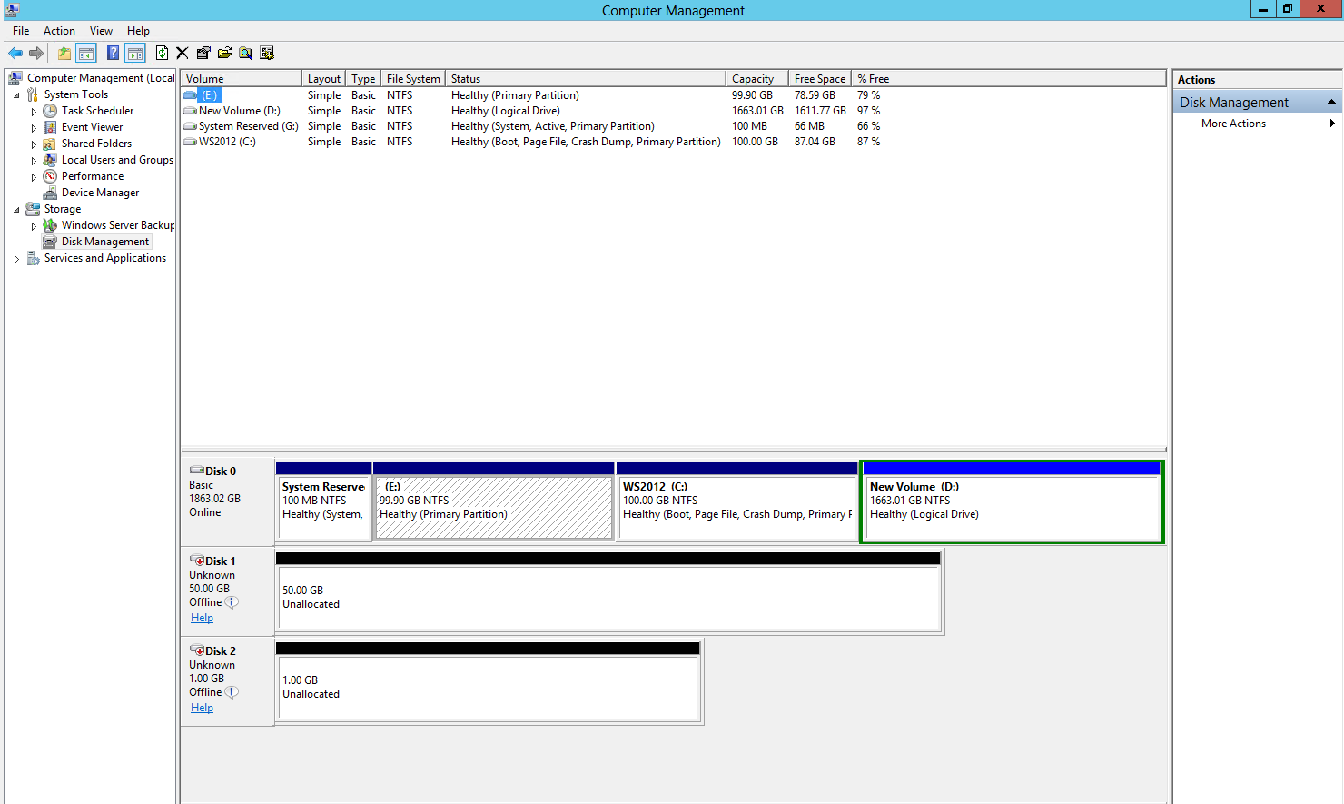 The Computer Management console should look as shown on the screenshot below. To create partitions and format new disks: 1.