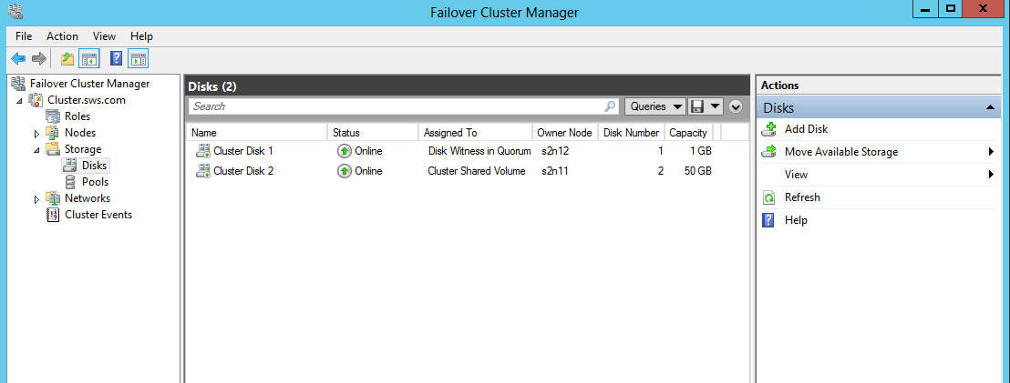 2. The disk will be displayed as a CSV at the Failover