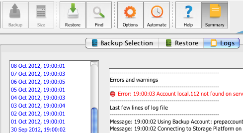 8. Logs The Backup Client logs all backup and restore processes and their results in log files that you can view on the Logs tab.