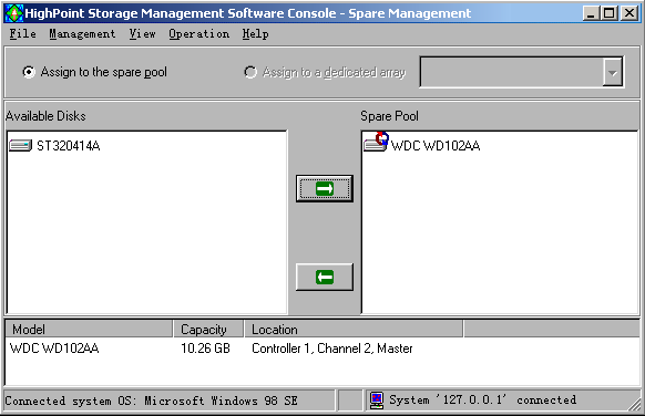 ATA RAID Software Rebuilding an Array Click on the Management tab, then select the Device Management option from the menu.