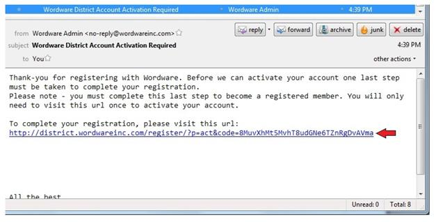 To activate your account, simply open your email account inbox and select the Wordware Inc email titled Wordware