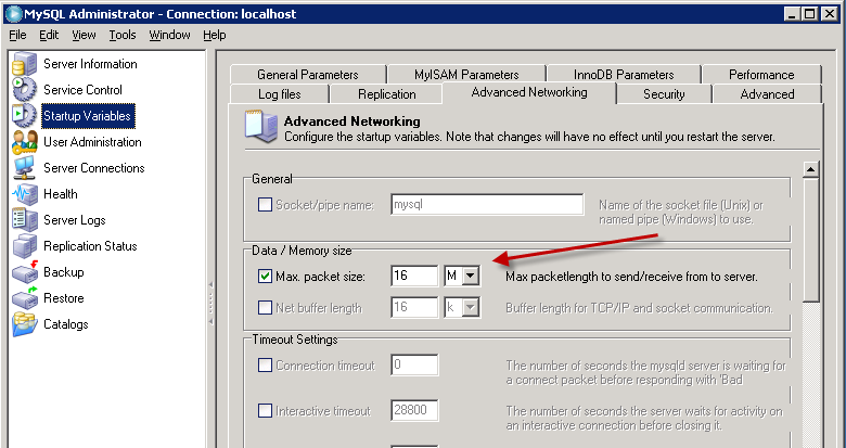 MySQL Server Settings Some of the report templates use large bitmaps.