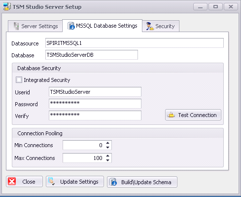 Next setup TSM Studio Server to communicate with SQL Server Datasource: Enter the IP Address or DNS name of the database server Database: Name of the database that already exists or will be created
