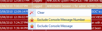 Right click on the context menu to quickly exclude and clear messages from the console.