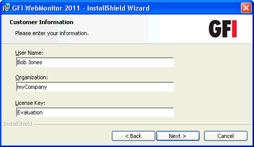 Screenshot 18 - Installation: Access Permissions 5. Key in the user name or the IP address that will be used to access the web interface of GFI WebMonitor and click Next.