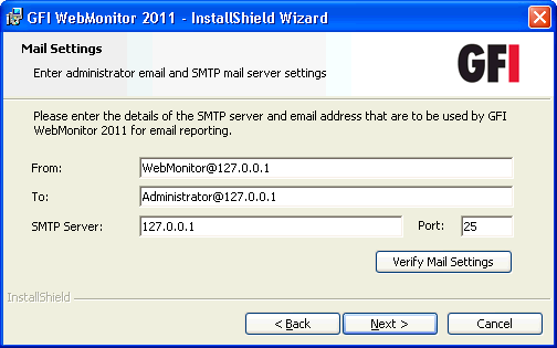 Screenshot 20 - Installation: Service Logon Information 7. Key in the logon credentials of an account with administrative privileges and click Next.