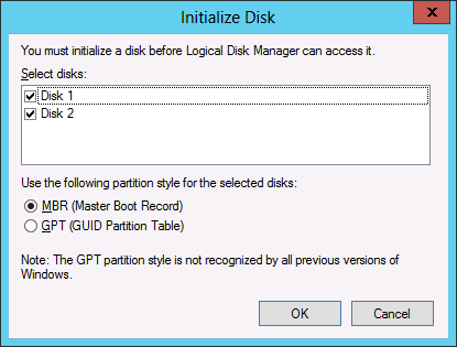 INITIALIZING DISKS Note: The StarWind disks must be initialized and formatted to be used as cluster disks. Change