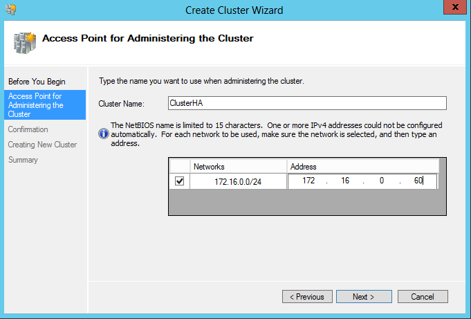 2. Specify servers to be included to the cluster. 3. Click Next to continue. 4. Specify a cluster name.