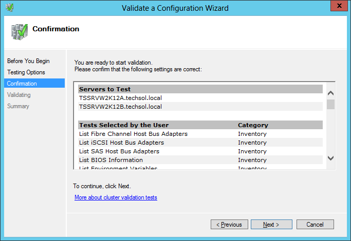 7. On the Testing Options screen, verify Run all tests is selected, and click Next. Figure 33 Testing options 8.