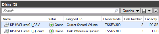 Figure 46 Newly created cluster shared volume 3. The newly created CSV is presented as a mount point in the C:\ClusterStorage directory on each node of the cluster.