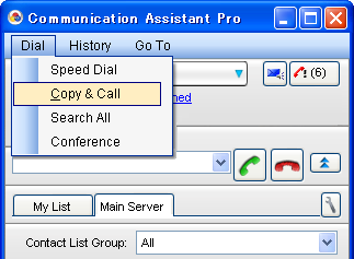 "3.14 Dial from Clipboard 3.14 Dial from Clipboard By selecting ""Copy & Call"", you can dial a telephone number stored in the computer's clip board memory. Hello! Please call me!"