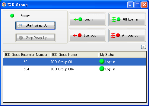 7.2 ICD Group Agent Feature 7.2 ICD Group Agent Feature You can control the current status of the ICD group you belong to. You can control Wrap Up status. You can control login and logout status.