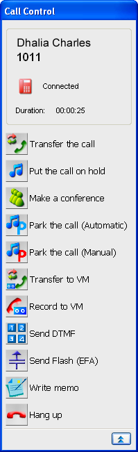3 Call Control The call control window indicates the status and available features for each incoming or outgoing call. When the extension is idle, the window is not displayed.