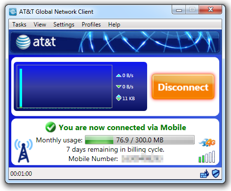 Mobility Data Usage Meter The AT&T Global Network Client provides usage data for AT&T mobility customers.