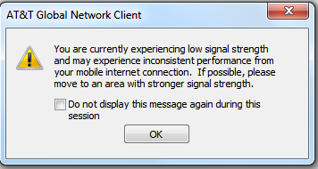 the connectivity issues and do not want the warning to continue to display, you can check the Do not display this message again during this session option and click OK.