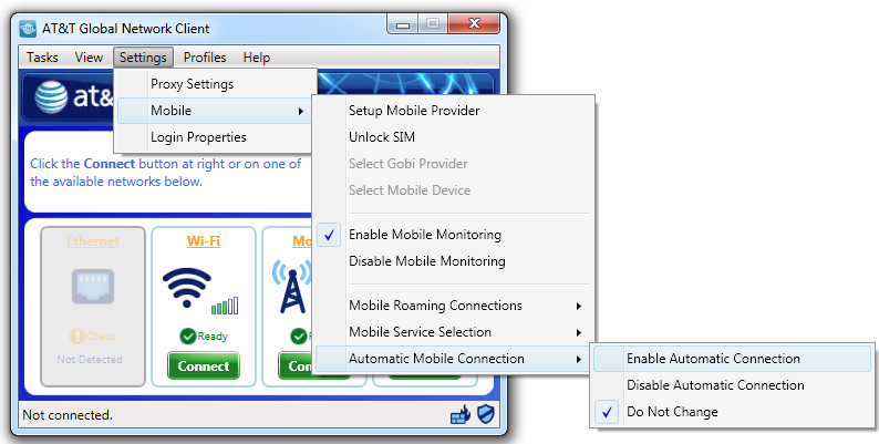 Figure 98: Enable/Disable AutoConnect