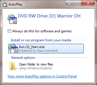 The Warrior Data Acquisition Software DVDs are set up to be self loading on most Windows Operating System computers. The Operating system must be any version of Windows 7 32-bit or 64 bit.