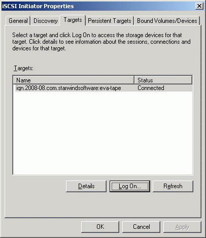 If the logon is successful, the iscsi device will show as Connected.