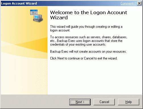 A Logon Account Wizard window will appear.