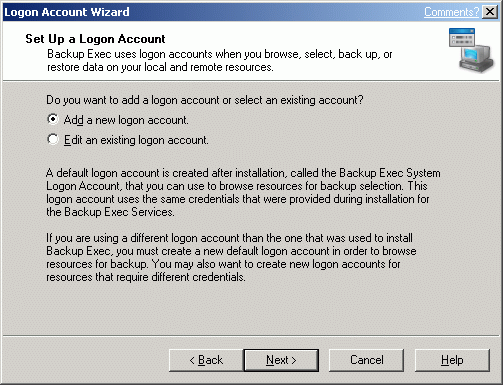 "Select the ""Add a new logon account"" option."