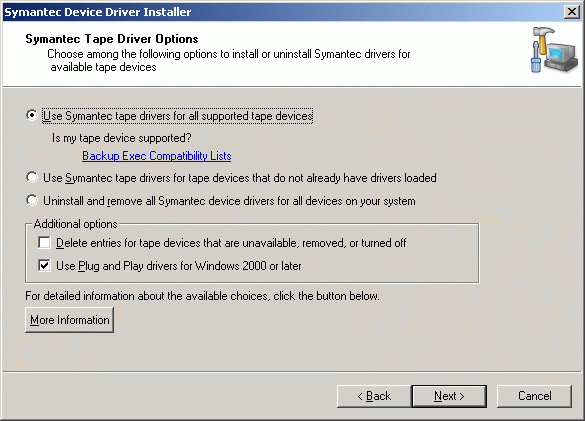 "Select ""Use Symantec tape driversfor all supported tape devices""."