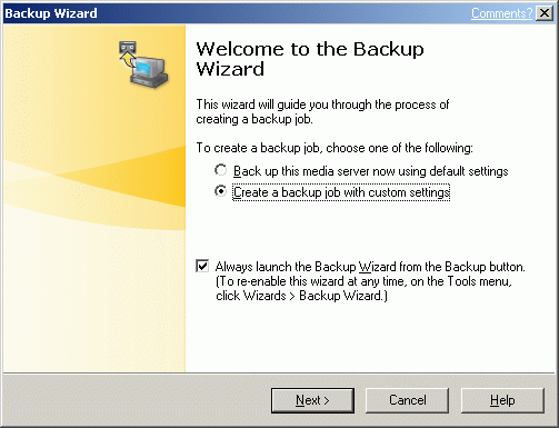A Backup wizard window will appear.