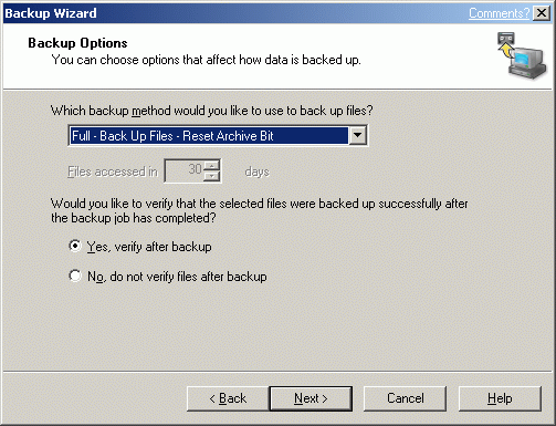 Select backup options.
