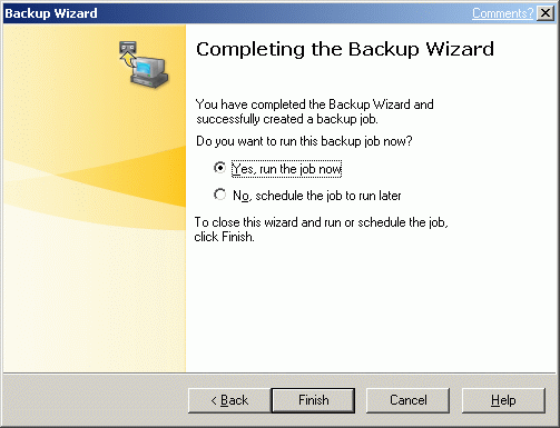 Complete the backup wizard by selecting whether to run the job now or schedule it for